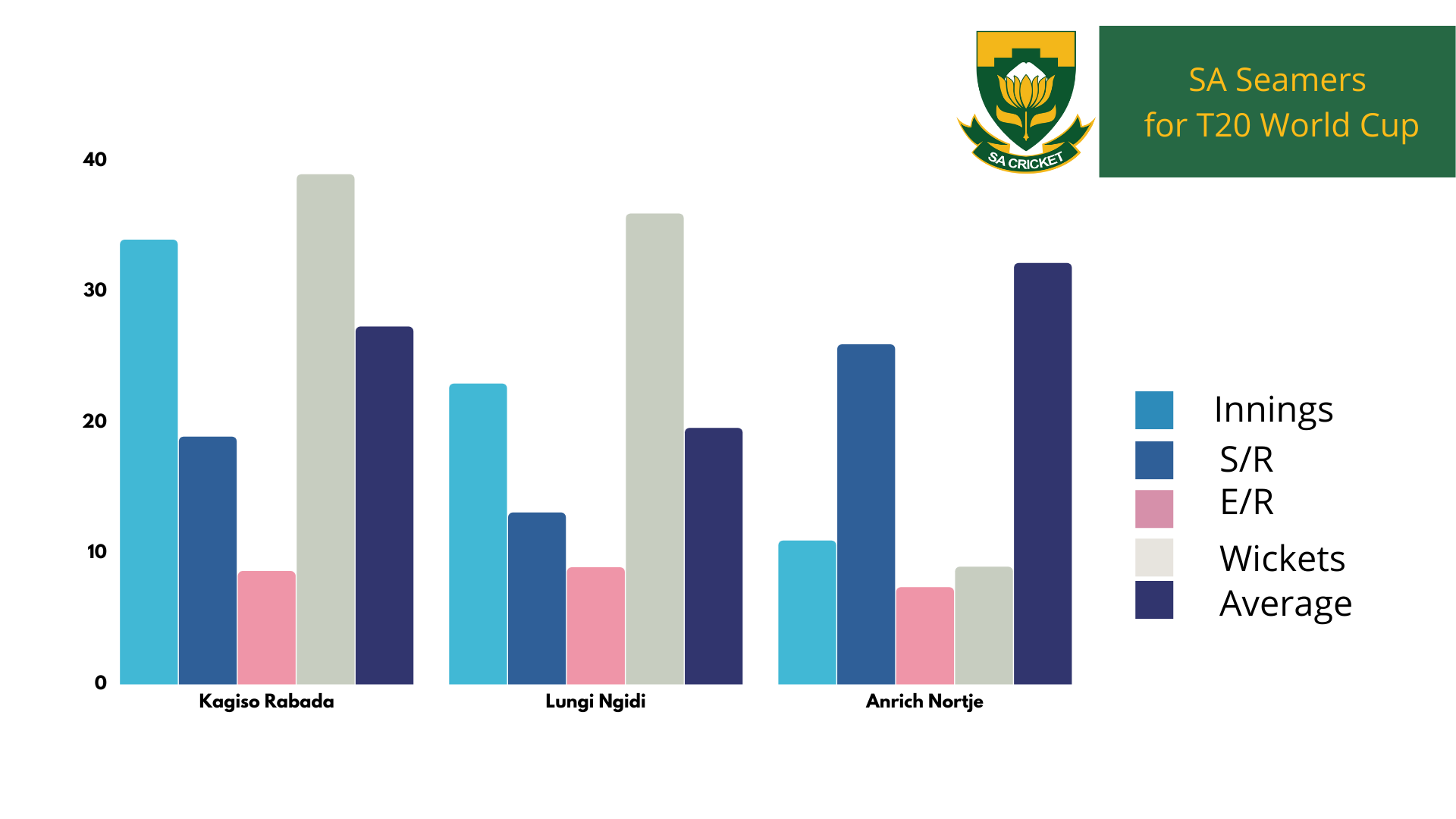 South African Seamers for T20 - cricket analysis stats