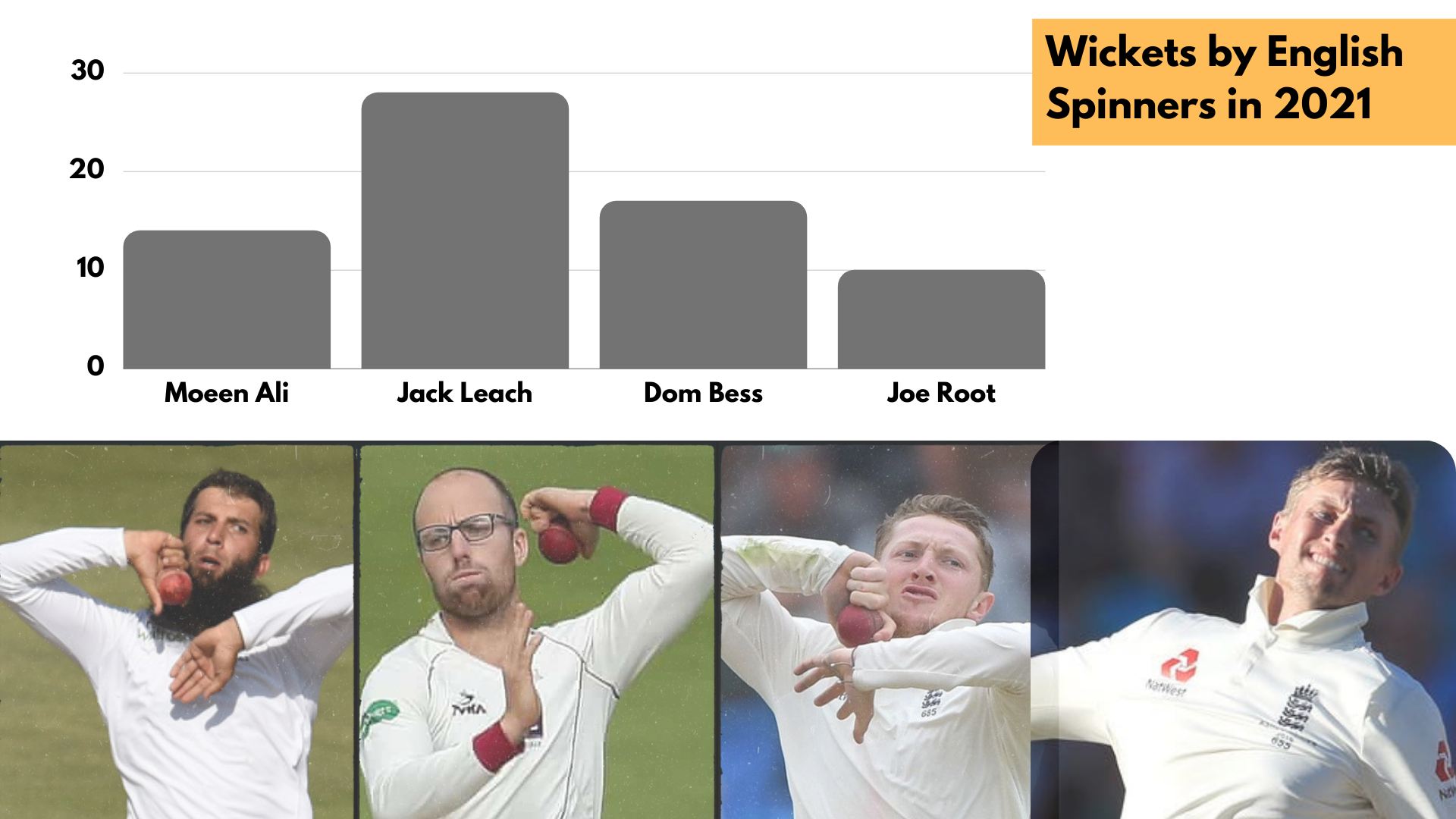 Wickets by English Spinners in 2021 cricket analysis stats